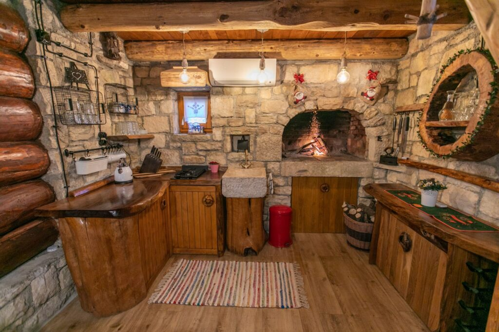Bistrica Cottage croatia kitchen and fireplace