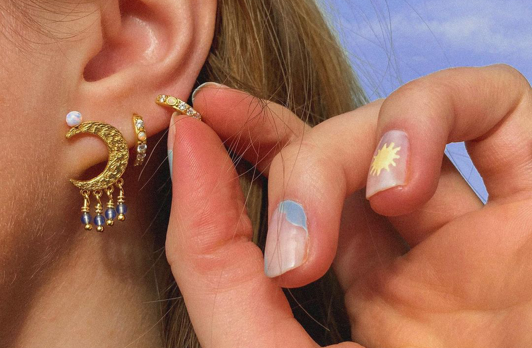 chic jewelry on a girl moon earrings