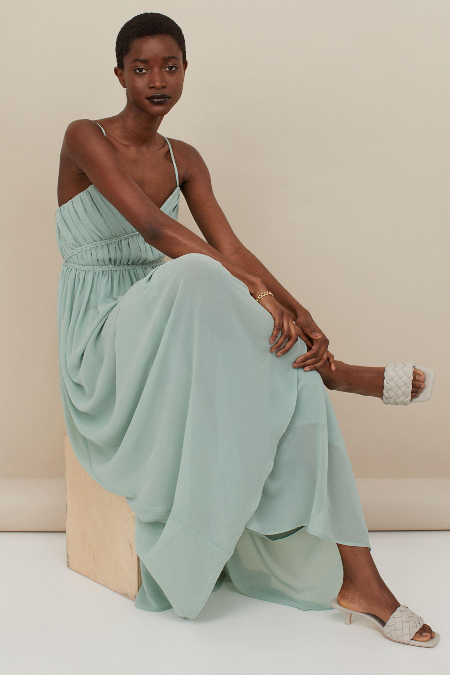 h&m long blue dress