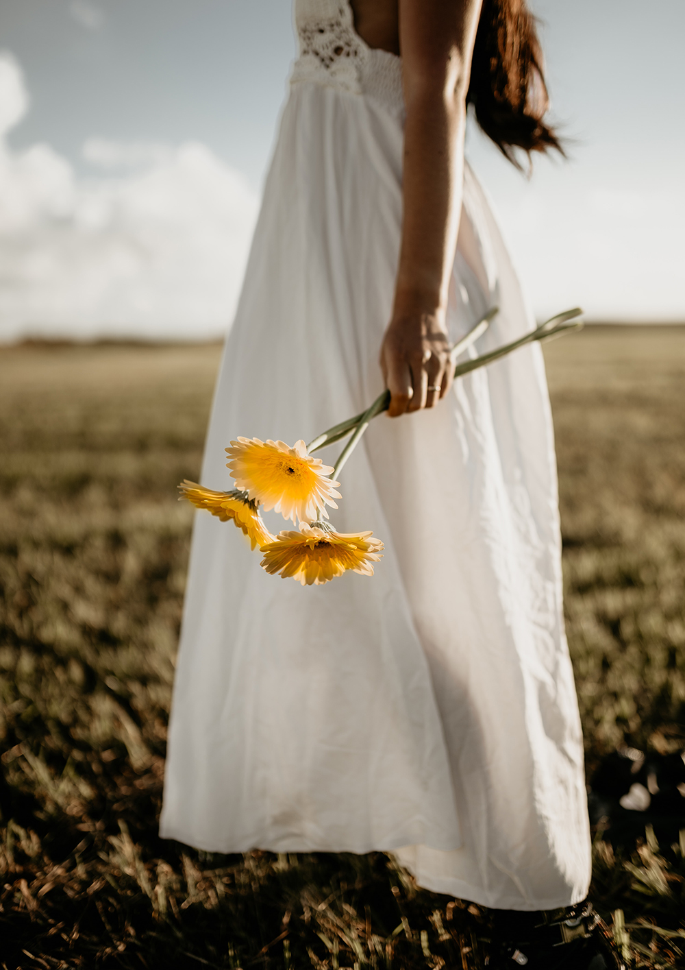 woman with flowers mindfulness