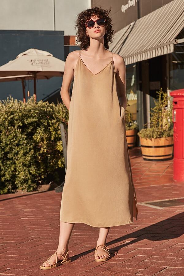 uniqlo must have long slip dress
