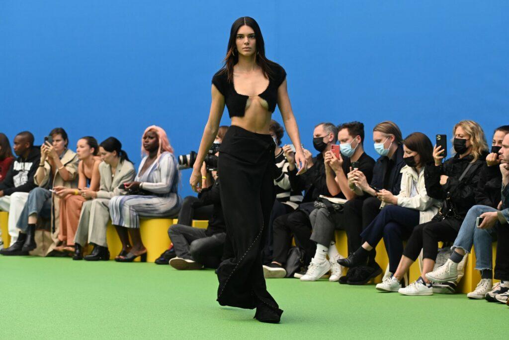 "SAINT-DENIS, FRANCE - JUNE 30: Kendall Jenner walks the runway during the Jacquemus ""La Montagne"" show at La Cite Du Cinema on June 30, 2021 in Saint-Denis, France. (Photo by Pascal Le Segretain/Getty Images)"