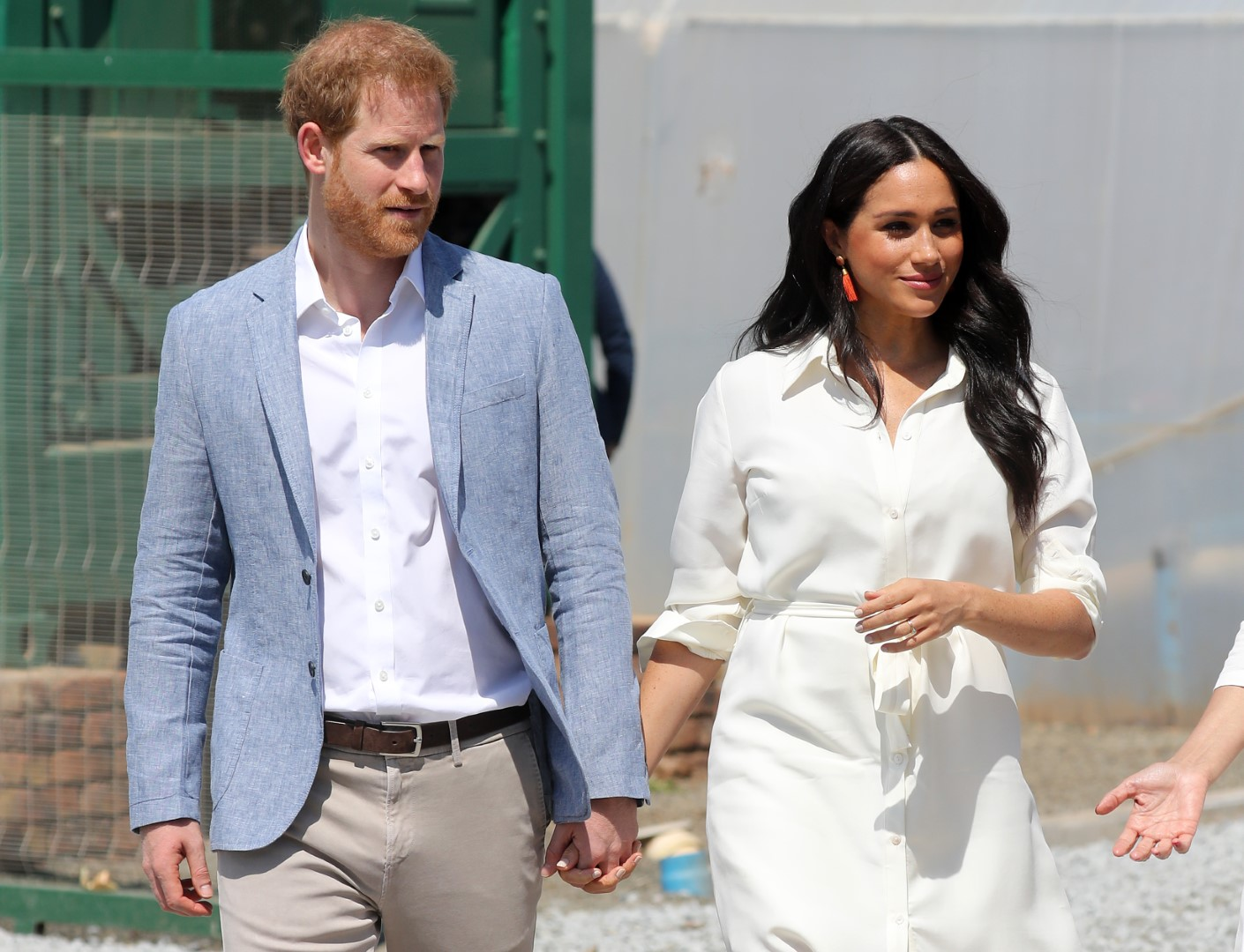 JOHANNESBURG, SOUTH AFRICA - OCTOBER 02: Prince Harry, Duke of Sussex and Meghan, Duchess of Sussex visit a township to learn about Youth Employment Services on October 02, 2019