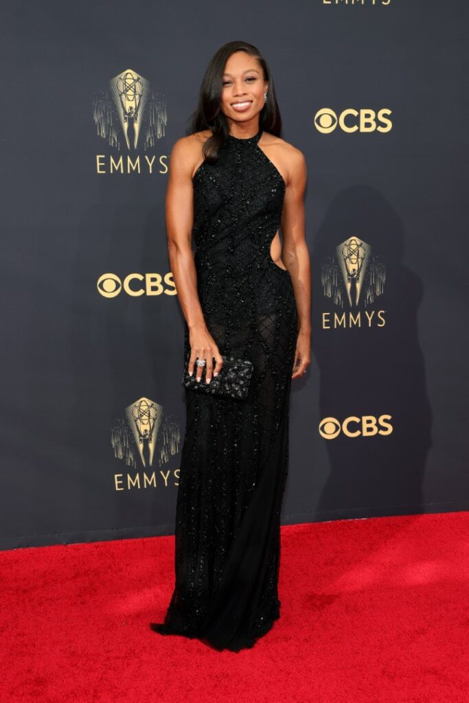 LOS ANGELES, CALIFORNIA - SEPTEMBER 19: Allyson Felix attends the 73rd Primetime Emmy Awards at L.A. LIVE on September 19, 2021 in Los Angeles, California. (Photo by Rich Fury/Getty Images)