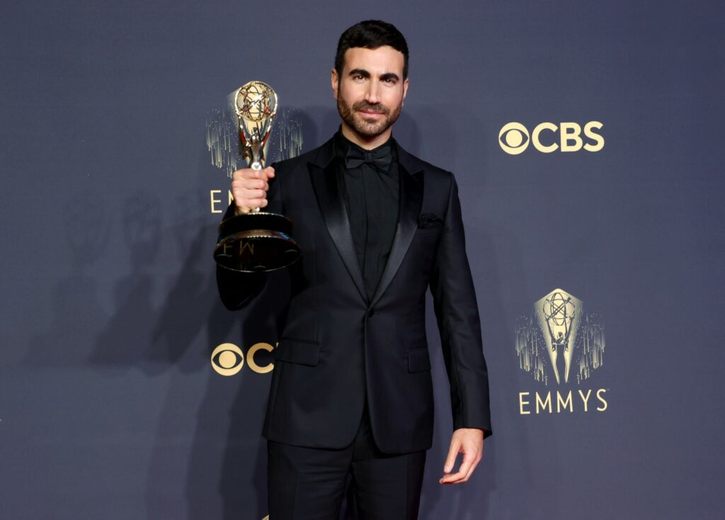 LOS ANGELES, CALIFORNIA - SEPTEMBER 19: Brett Goldstein, winner of Outstanding Supporting Actor in a Comedy Series for 'Ted Lasso,' poses in the press room during the 73rd Primetime Emmy Awards at L.A. LIVE on September 19, 2021 in Los Angeles, California. (Photo by Rich Fury/Getty Images)