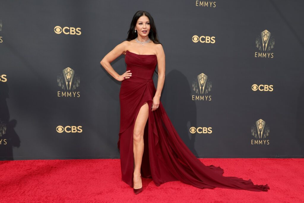 LOS ANGELES, CALIFORNIA - SEPTEMBER 19: Catherine Zeta-Jones attends the 73rd Primetime Emmy Awards at L.A. LIVE on September 19, 2021 in Los Angeles, California. (Photo by Rich Fury/Getty Images)