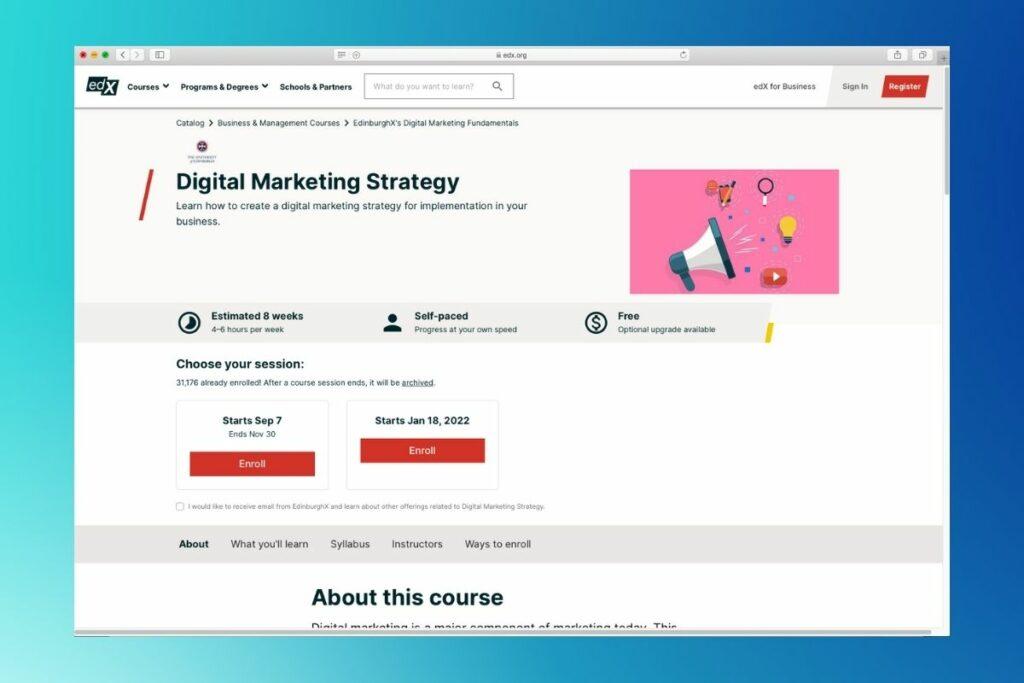 University of Edinburg, Digital Marketing