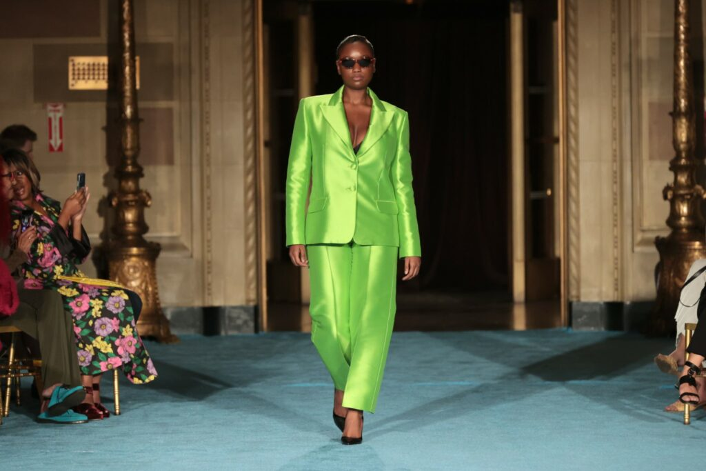 NEW YORK, NEW YORK - SEPTEMBER 07: A model walks the runway for the Christian Siriano SS2022 Fashion Show at Gotham Hall on September 07, 2021 in New York City (Photo by Mike Coppola/Getty Images for Christian Siriano)