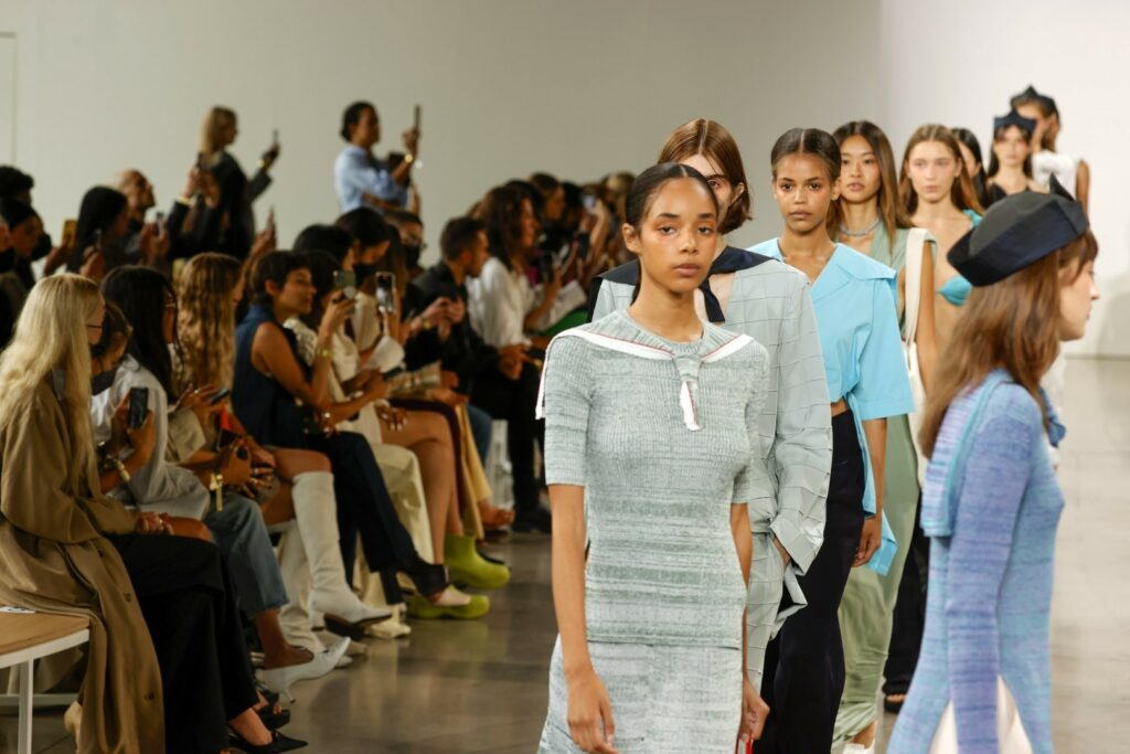 NEW YORK, NEW YORK - SEPTEMBER 09: Models walk the runway for Bevza during NYFW: The Shows at Gallery at Spring Studios on September 09, 2021 in New York City. (Photo by Frazer Harrison/Getty Images)