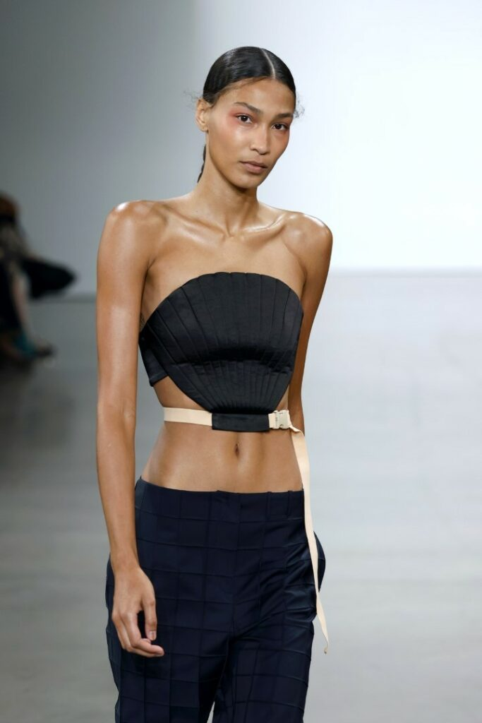 NEW YORK, NEW YORK - SEPTEMBER 09: A model walks the runway for Bevza during NYFW: The Shows at Gallery at Spring Studios on September 09, 2021 in New York City. (Photo by Frazer Harrison/Getty Images)