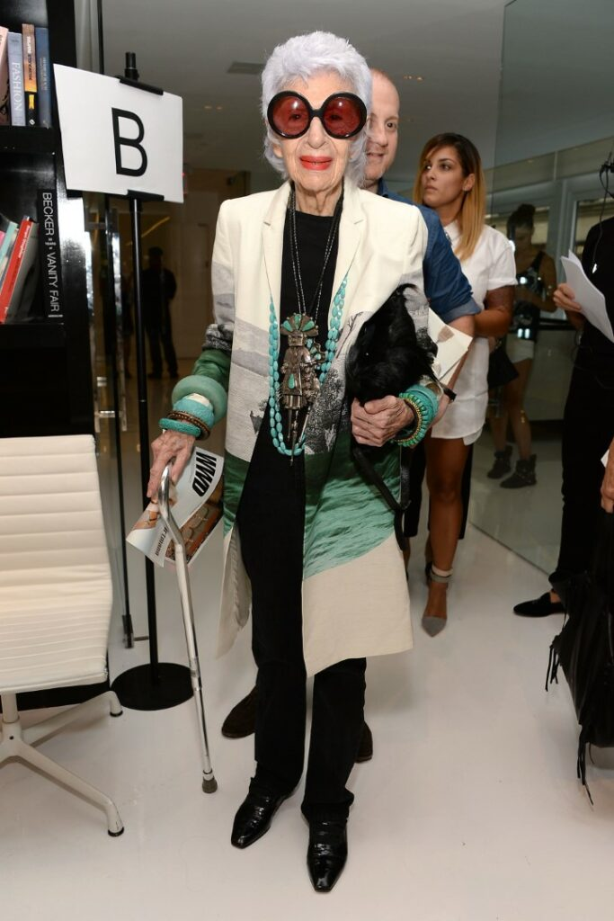 NEW YORK, NY - SEPTEMBER 06: Iris Apfel attends the Ralph Rucci Fashion Show during Mercedes-Benz Fashion Week Spring 2015 on September 6, 2014 in New York City. (Photo by Ben Gabbe/Getty Images)