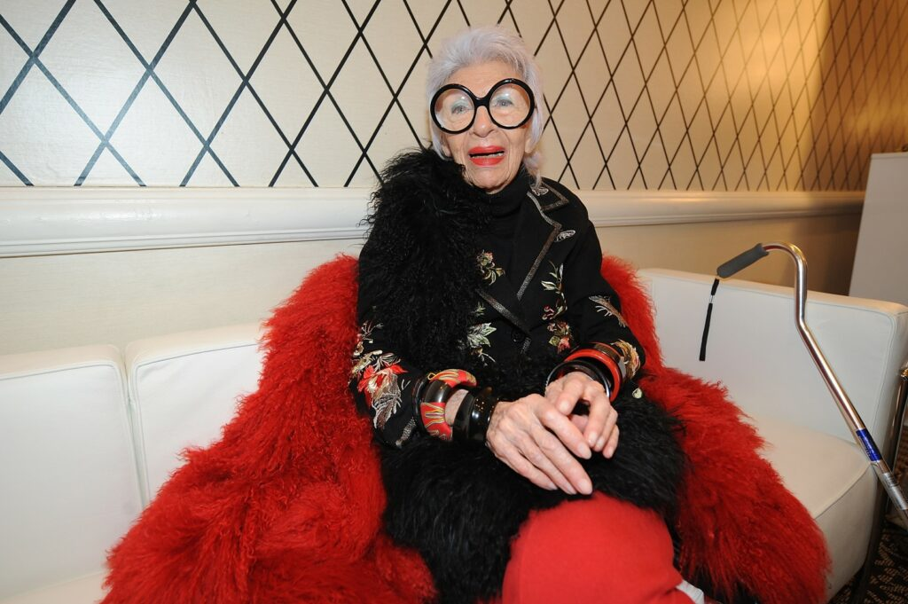 NEW YORK, NY - FEBRUARY 10: Designer Iris Apfel attends the HSN Fashion Week Lounge At The Empire Hotel on February 10, 2014 in New York City. (Photo by Brad Barket/Getty Images for HSN)