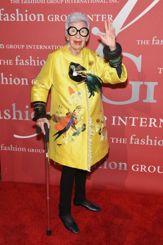 NEW YORK, NY - OCTOBER 27: Iris Apfel attends 2016 Fashion Group International Night Of Stars Gala at Cipriani Wall Street on October 27, 2016 in New York City. (Photo by Jamie McCarthy/Getty Images)