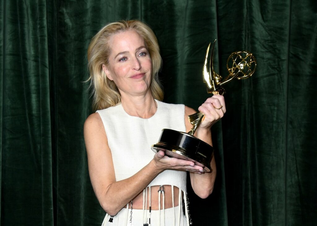 """LONDON, ENGLAND - SEPTEMBER 19: Gillian Anderson with her Emmy award for 'Outstanding Supporting Actress for a Drama Series', at the """"The Crown"""" 73rd Primetime Emmys Celebration at Soho House on September 19, 2021 in London, England. (Photo by Gareth Cattermole/Getty Images)"""