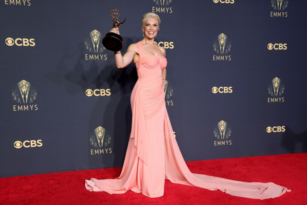 LOS ANGELES, CALIFORNIA - SEPTEMBER 19: Hannah Waddingham, winner of Outstanding Supporting Actress in a Comedy Series for 'Ted Lasso,' poses in the press room during the 73rd Primetime Emmy Awards at L.A. LIVE on September 19, 2021 in Los Angeles, California. (Photo by Rich Fury/Getty Images)