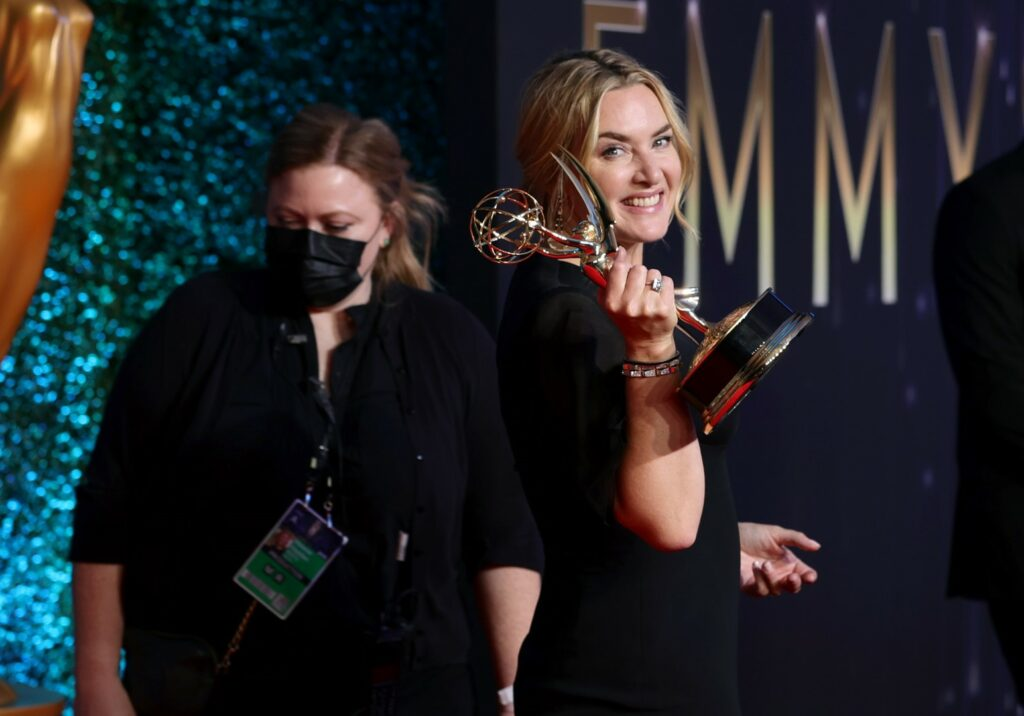 LOS ANGELES, CALIFORNIA - SEPTEMBER 19: Kate Winslet, winner of the Outstanding Lead Actress in a Limited or Anthology Series or Movie award for 'Mare Of Easttown,' poses in the press room during the 73rd Primetime Emmy Awards at L.A. LIVE on September 19, 2021 in Los Angeles, California. (Photo by Rich Fury/Getty Images)