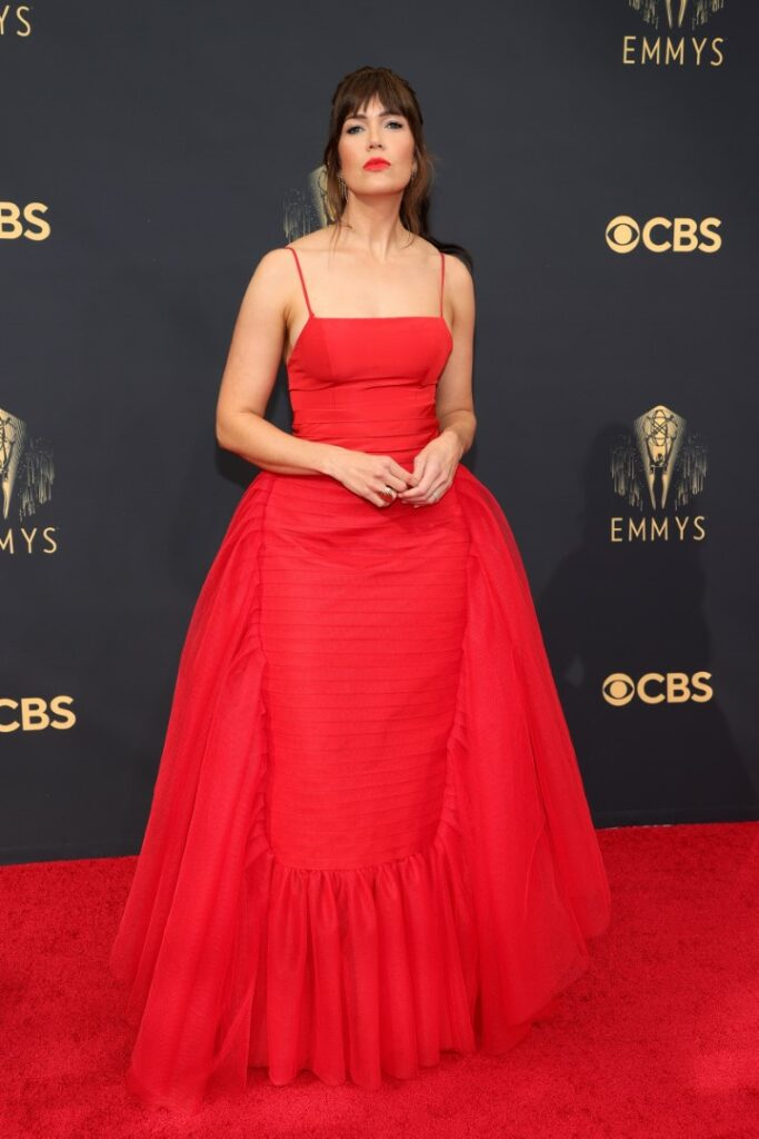 LOS ANGELES, CALIFORNIA - SEPTEMBER 19: Mandy Moore attends the 73rd Primetime Emmy Awards at L.A. LIVE on September 19, 2021 in Los Angeles, California. (Photo by Rich Fury/Getty Images)