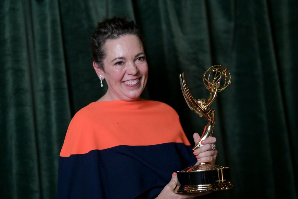 """LONDON, ENGLAND - SEPTEMBER 19: Olivia Colman with her Emmy award for 'Outstanding Lead Actress for a Drama Series', at the """"The Crown"""" 73rd Primetime Emmys Celebration at Soho House on September 19, 2021 in London, England. (Photo by Gareth Cattermole/Getty Images)"""