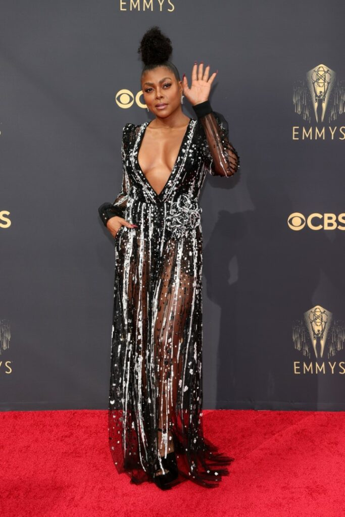 LOS ANGELES, CALIFORNIA - SEPTEMBER 19: Taraji P. Henson attends the 73rd Primetime Emmy Awards at L.A. LIVE on September 19, 2021 in Los Angeles, California. (Photo by Rich Fury/Getty Images)
