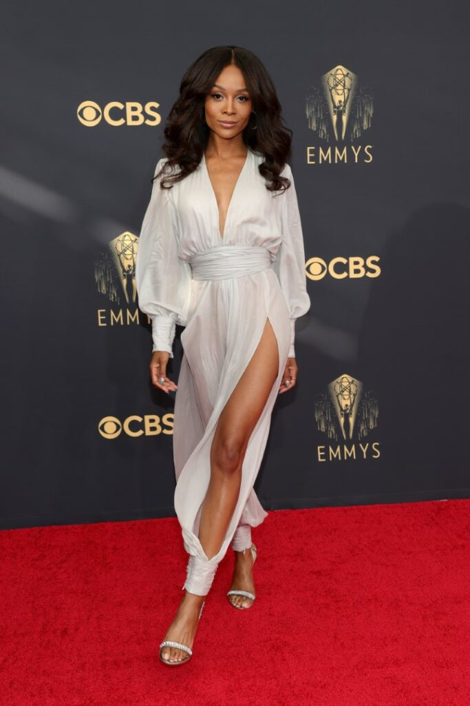 LOS ANGELES, CALIFORNIA - SEPTEMBER 19: Zuri Hall poses in the press room during the 73rd Primetime Emmy Awards at L.A. LIVE on September 19, 2021 in Los Angeles, California. (Photo by Rich Fury/Getty Images)